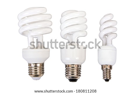 Three fluorescent light bulb on a white background - stock photo