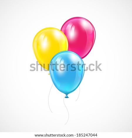 Three flying colored balloons on white background, illustration.