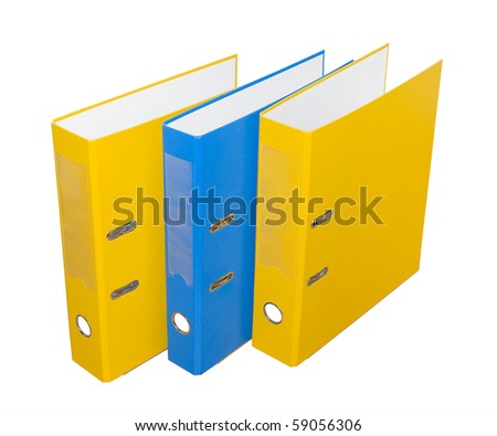 Three folders on a white background. Isolated. - stock photo