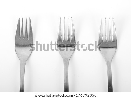 Three forks on white background
