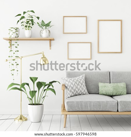Three Frames Poster Mock Up In Scandinavian Livingroom Interior With Sofa And Green Plants 3d