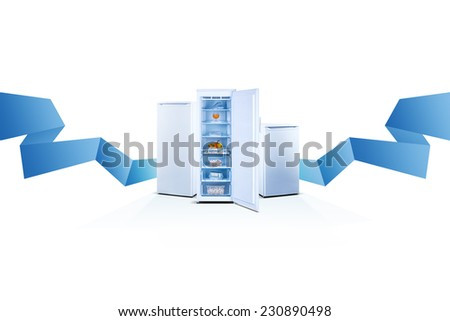 Three freezers on white background with blue ribbon, line, open, front view, with food