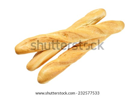 Three French baguette. Isolated on the white background.