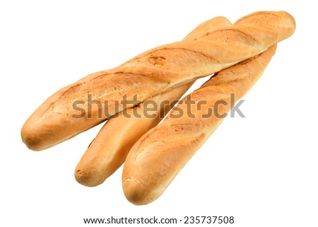 Three French baguette. Isolated on the white background. - stock photo
