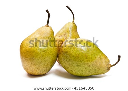 Three fresh green pears. Group of juicy ripe fruits. View of conference pear isolated on white background. With clipping path. - stock photo