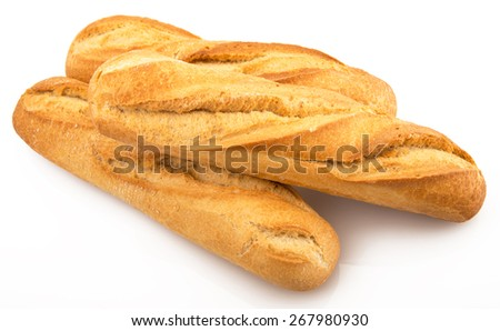 three fresh italian bread on white background - stock photo