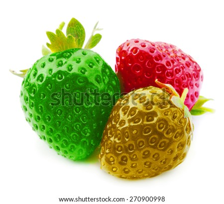 three fresh, juicy and healthy strawberries on white - stock photo