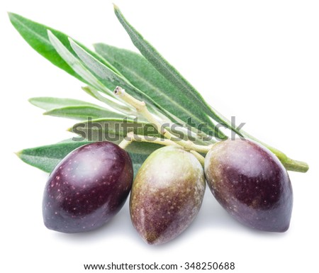Three fresh olives with leaves on the white background.