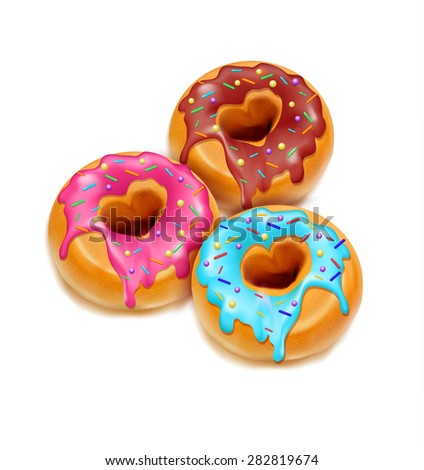 three fried donuts glaze and chocolate  isolated on a white background - stock photo