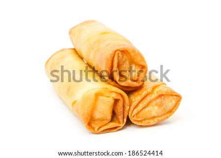 Three fried spring rolls against white background - stock photo