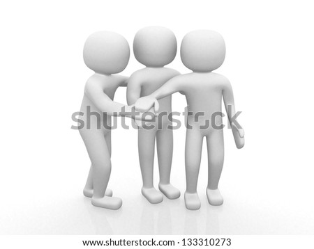 Three friends - 3d icon- 3d render illustration