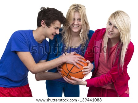 Three Friends Fighting For Basketball Over White Background