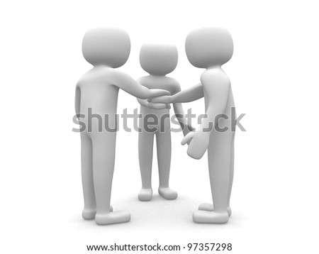 Three friends - people 3d icon- 3d render