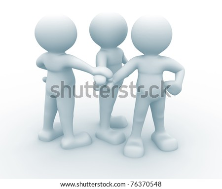 Three friends - people 3d icon- This is a 3d render illustration
