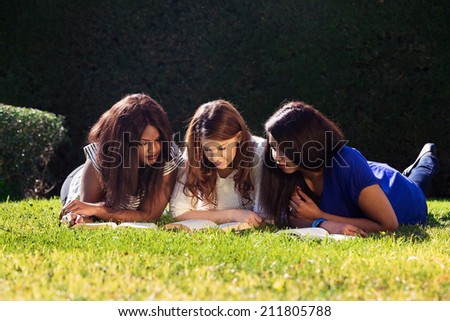 Three Friends Studying at the Park - stock photo
