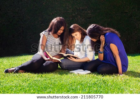 Three Friends Studying Together for their exams in Nature - stock photo