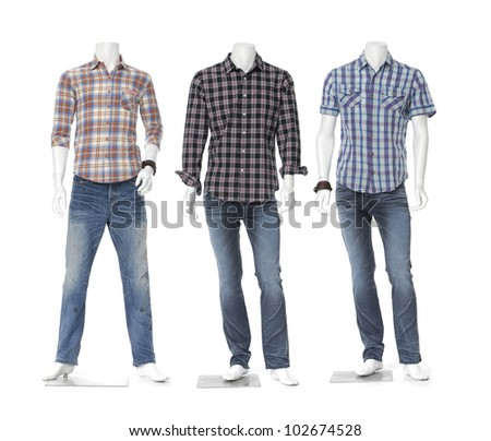 Three full length three male mannequin dressed in jeans with striped shirt - stock photo
