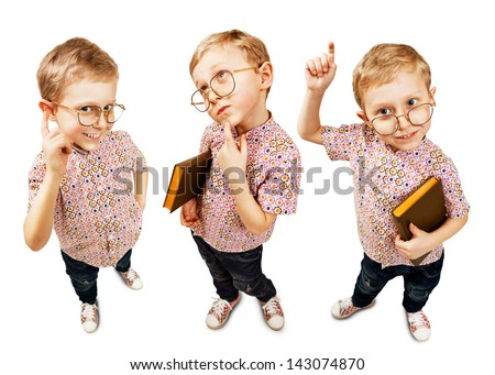 Three funny  images of cute pupil boy : Smirk - Think- Attention - stock photo