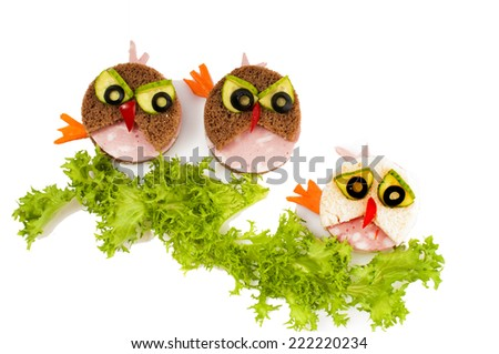 Three funny  sandwich for child - isolated on white background. - stock photo