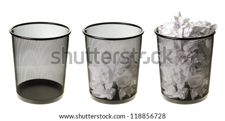 Three garbage cans going from empty to full, isolated on a white background. - stock photo