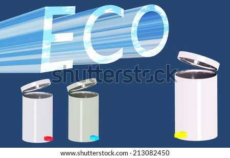 Three garbage tanks and inscription ecology - stock photo