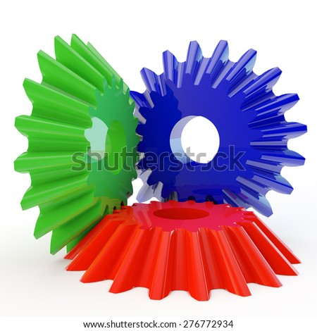 three gears of different flowers as symbol of team work - stock photo