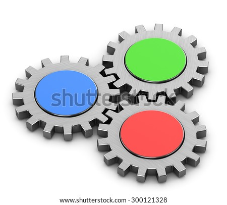 three gears on a white background - stock photo