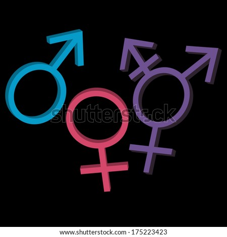 Three gender identities icons: man, woman, genderqueer. Raster version