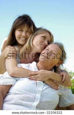 three generation family - stock photo