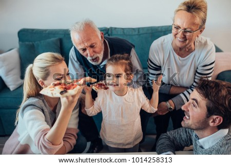Three generation family spending time together
