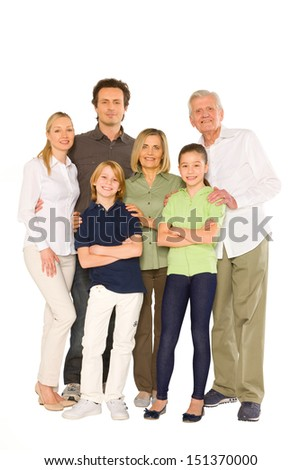 three generations family standing isolated on white background - stock photo