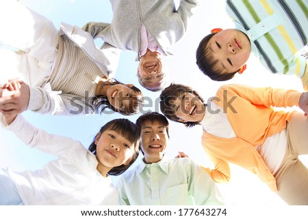 Three generations of a Japanese  family portrait - stock photo