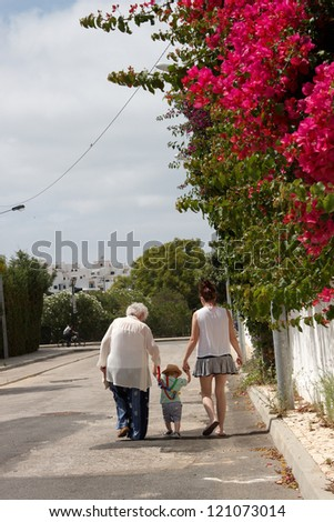 Three generations walking hand in hand up a road