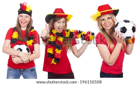 Three german female soccer fans isolated