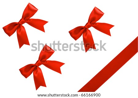 three gift bows, red satin, with one oblique ribbon isolated on white