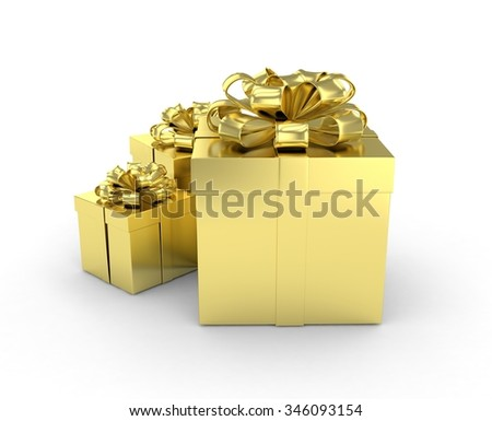 three gift boxes with bows isolated on white