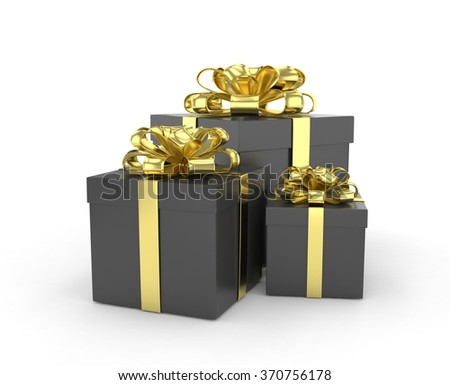 three gift boxes with bows isolated on white - stock photo
