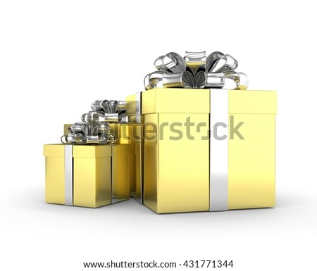 three gift boxes with bows isolated on white. 3d rendering.