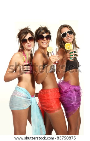 three girls at a party, studio portrait
