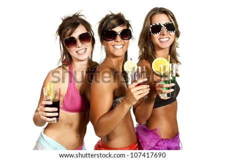 three girls have fun at the party, studio portrait