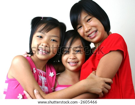 Three girls having good time