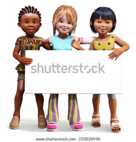 Three girls holding up a empty sign white board with room for your text or copy space advertisement on a white background. - stock photo