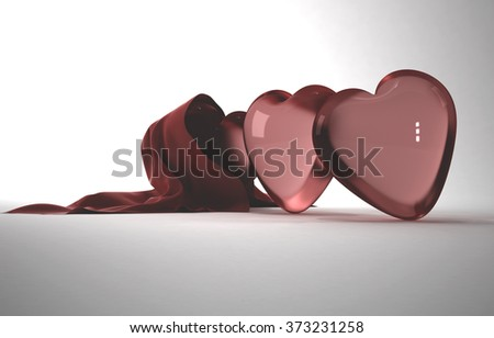 three glass of red heart covered with silk veil on a white background for Valentine's Day - stock photo