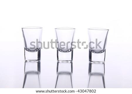 three glasses for brandy - stock photo