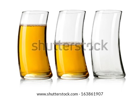 three glasses of apple juice  on white background