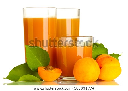 three glasses of apricot juice and apricots with leaf isolated on white - stock photo