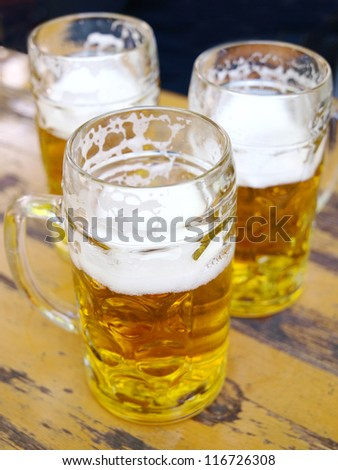 Three glasses of beer - stock photo