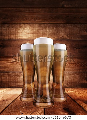 Three glasses of beer filled with foam. Against the background of a wooden surface. 3D render.