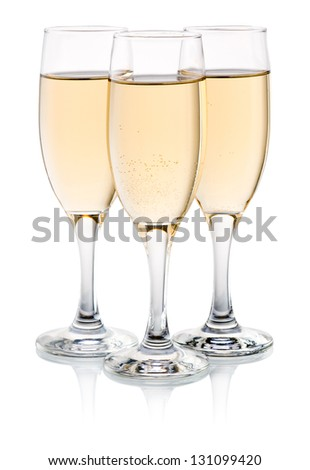 Three glasses of champagne Isolated on a white background - stock photo