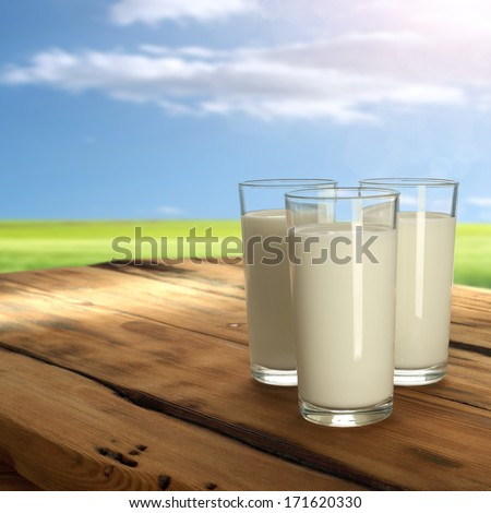 three glasses of milk